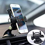 Moonxiao Universal Car Dash Mount Phone Holder Dashboard & Windshield Suction Cup Phone Mount Adjustable 360° One Touch Lock Cell Phone Cradle for iPhone Galaxy Note Any Smartphone GPS Device, Black