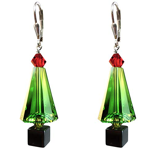 Green Christmas tree Earrings Made with Swarovski Crystal elements Silver Leverback