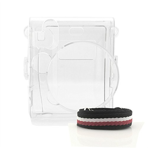 HelloHelio Hard Plastic Cover Transparent Crystal Instant Camera Case for Fujifilm Instax Mini 90 With Strap (Cystal)