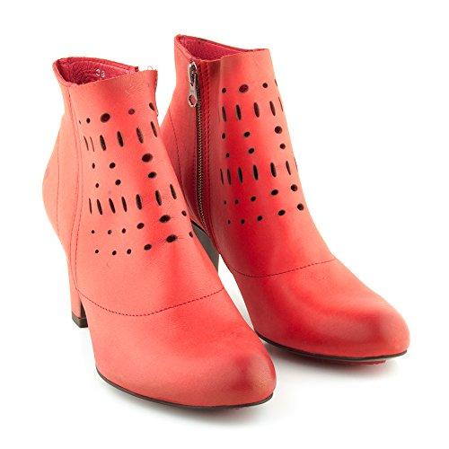 Felmini - Zapatos para Mujer - Enamorarse com Fenix A128 - Botines de tacón - Cuero Genuino - Rojo Rojo