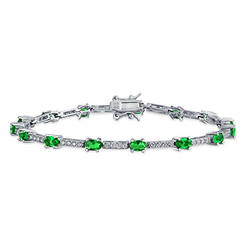 Personalized Green Alternating Bar Tennis Bracelet Simulated Emerald Cubic Zirconia Sterling Silver 7In Custom Engraved