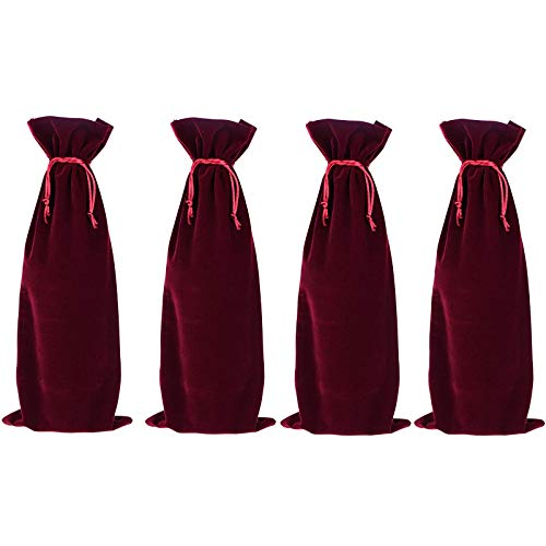 Chris.W 4 Pcs Luxury Velvet Wine Bottle Gift Bags with Double Drawstring Closure for Champagne Wedding Party(15