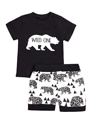 Baby Boy Clothes Short Sleeve Wild One T-Shirt Bear Printing Pants 2PC Summer Outfit Set(size90/12-18 Months) -