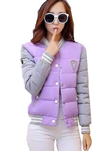 security Women Lightweight Outdoor Long Sleeve Quilted Down Jacket Purple