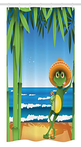 Ambesonne Animal Stall Shower Curtain, Illustration of a Frog on Sandy Beach with Palm Trees and Ocean Tropical Print, Fabric Bathroom Decor Set with Hooks, 36 W x 72 L Inches, Green Blue Cream