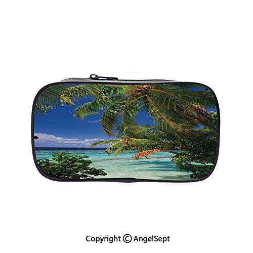 Two Big Pockets for Executive Fountain Pen,Tropical Paradise at Maldives with Palms Blue Sky Beautiful Beaches Tranquility Sky Blue Green 5.1inches,Multi-Functional 72 Slots Colored Pencil Case ()