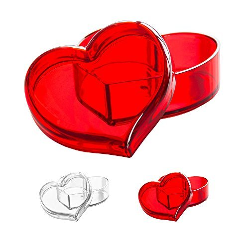 Solly´s Clara Acrylic Heart Box Jewelry & Cosmetic Storage or Gift Box - Red -