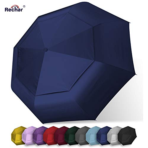 RECHAR Large Windproof Totes Umbrella 一 Rain Collapsible Compact Umbrellas for Women & Men 52 Inch Oversize, 1-Year Quality Warranty No Refund