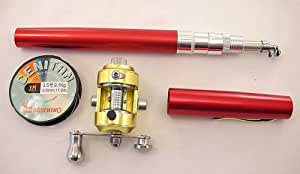 Pen size fishing rod and reel red for Pen fishing rod amazon