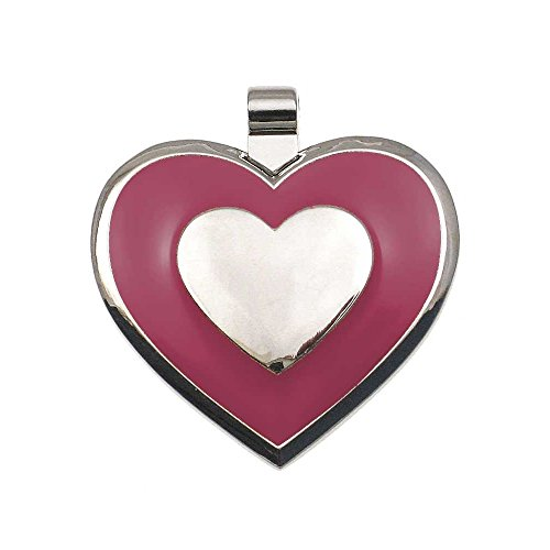 LuckyPet Pet ID Tag - Heart Shaped Jewelry Tag - Dog Tag & Cat Tag - Easy to Read Laser Engraving on the Back Side - Size: Large, Color: Pink