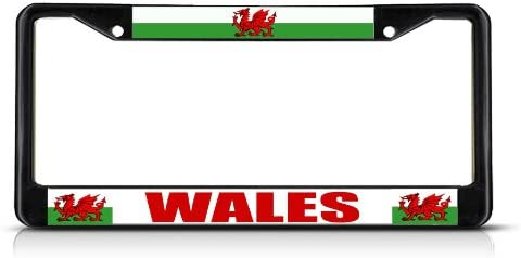 Fastasticdeals Wales Flag Red Dragon Welsh Country Black Study License Plate Frame Tag Holder