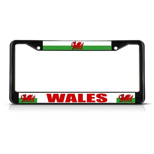 Fastasticdeals Wales Flag RED Dragon Welsh Country Black Study Metal License Plate Frame