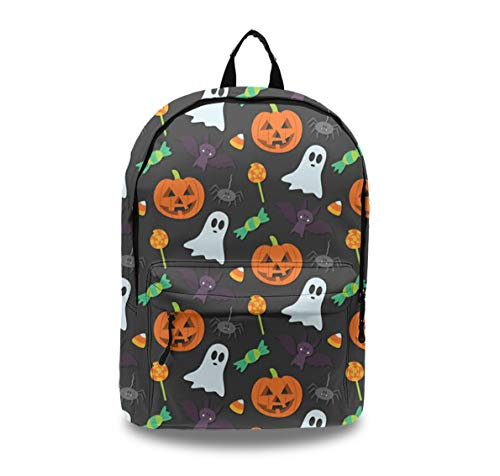 Women Men Teens Laptop Backpack with Earphone Port Water-Repellent School Travel Backpack Casual Daypack for Business/College/Travel/Camping - Halloween Pumpkin Ghost ()