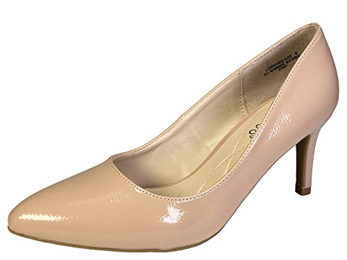 Bamboo Women's Mid Heel Plain Pump, Nude Patent PU, 7.5 B (M) (Plain Womens Pumps)
