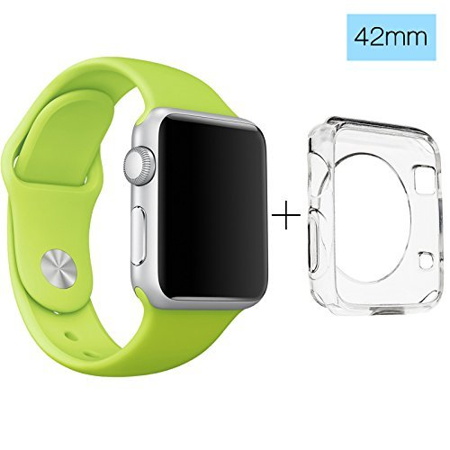ClockChoice Silicone Watch Band Sport Replacement Kit for 42mm Series 1, 2 & 3 Smartwatch, GREEN, Bonus Case Included, No adapter needed, Includes 3 Pieces, for 2 Lengths, For Women and Men - Green Medium Dark Hard
