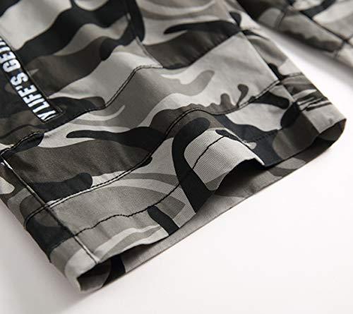 LAUSONS Short Garcon Camouflage - Bermuda Enfant Garçon été - Pantalon Court Militaire Slim Chino Shorts 5