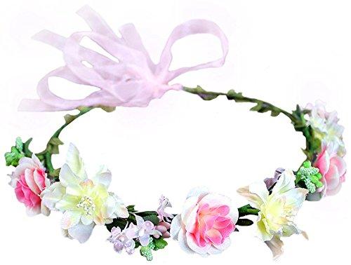 Flower Crown Floral Headband Headpiece Wreath Girls Womens Artificial Ivory Pink Silk Roses Wedding