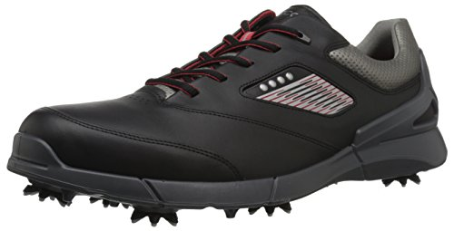 ECCO Men's Base One Golf Shoe, Black/Steel Hydromax, 12 M US
