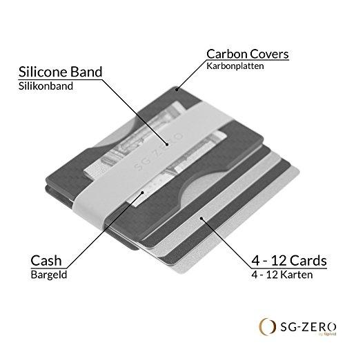 Billetera Minimalista Delgada Hecha de Fibra de Carbono para Guardar de 4 a 12 Tarjetas de crédito. Cartera con Gancho para el Dinero en Color Negro para ...