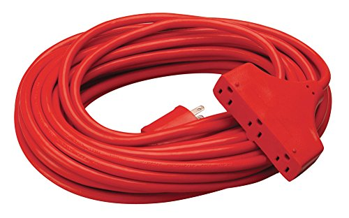 (Coleman Cable 42188804 CCI Tri Source Three Receptacle Extension Cord, 50 Ft L, 3 Outlet, 14/3 Awg 50' Red )