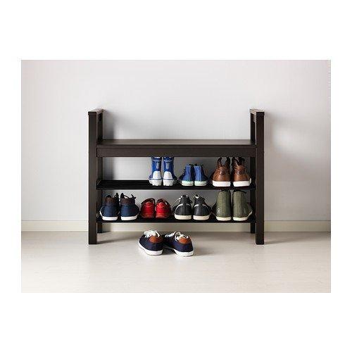 IKEA HEMNES - banco con organizador de zapatos, negro-marrón ...