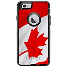 """CUSTOM Black OtterBox Defender Series Case for Apple iPhone 6 (4.7"""" Model) - Red White Canadian Flag Canada"""