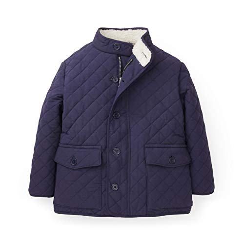 Hope & Henry Boys Navy Field Quilted Mock Neck Jacket with White Sherpa Lining (Quilted Kids Jacket)