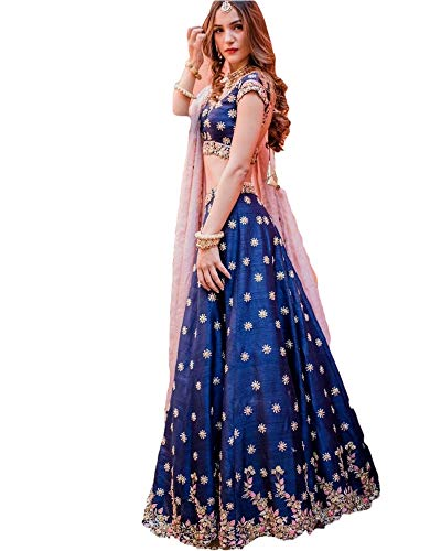 REKHA Ethinc Shop Embroidered Work Indian Bollywood Designer Lehenga Choli Ethnic Look Women Semi-Stitched Lehenga Choli A313