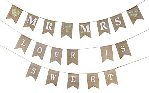 Mandala Crafts Mr and Mrs Burlap Banner, Love is Sweet Pendant Flags for Shower, Wedding, Engagement Party Decoration, Country and Rustic Fabric Pennant Bunting ()