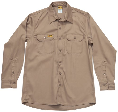 Sleeve Lap Shirt - LAPCO GOS7KH-MED-LONG Small Regular Sleeve 7-Ounce 88-Percent Cotton 12-Percent Nylon Flame Resistant Khaki Shirt