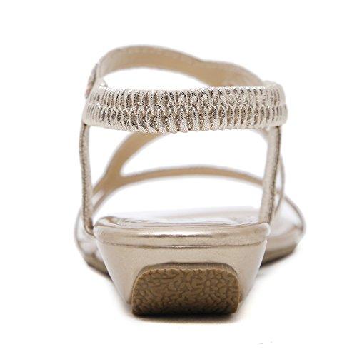 Bracelet En Cuir Synthétique Agowoo Perlé Sandale De Plage Plate Pour Les Femmes Or