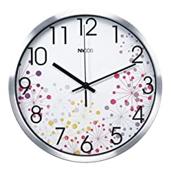 JustNile Modern Creative Round 12-inch Non Ticking Wall Clock - Colorful Fireworks