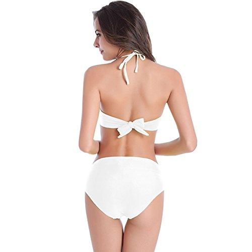 UDreamTime Alta subida del bikiní de las Femenino del traje de baño ropa de playa Blanco
