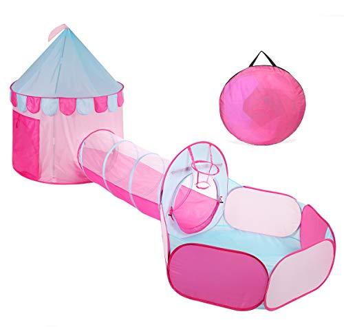 Castle Ball Pit - TRUEDAYS Princess Castle Pink Play Tent with Tunnel for Grils Kids Playhouse Ball Pit Indoor Outdoor