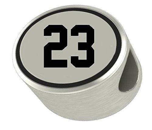 #23 Number 23 Oval Bead Charm Universal European Slide On Charm - Classic & Original Style Perfect for Bracelets, Necklaces, DIY Jewelry