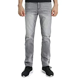 Men's Grey Jeans 5- Pocket Denim Medium wash Straight Fit Stretch Casual Pants