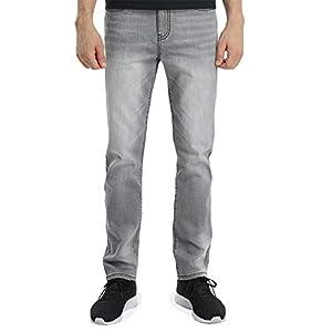 Men's Grey Jeans 5- Pocket Denim Medium wash Straight Fit Stretch Casual Pants