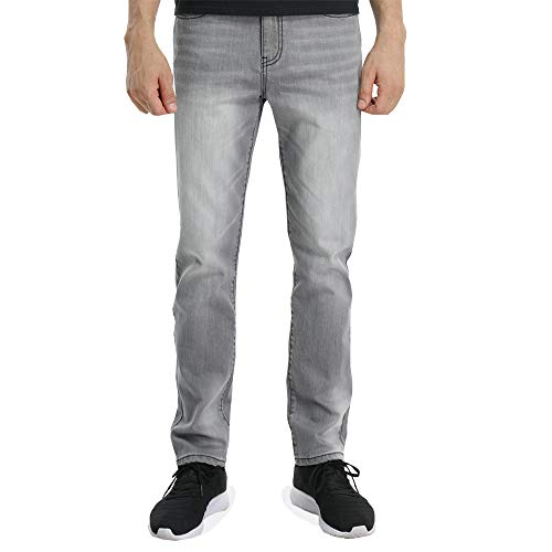 Wardweegion Men's Grey Jeans 5- Pocket Denim Medium wash Straight Fit Stretch Casual Pants (30 in, 32) -