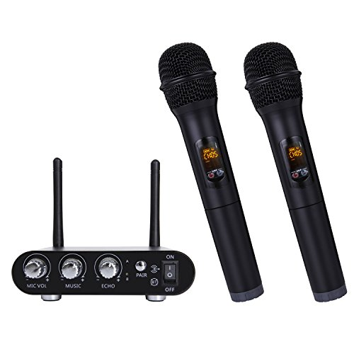 TONOR Pro Dynamic Bluetooth Dual Handheld Wireless Microphone Receiver Set, Battery Powered Portable Vocal Mic for Computer Speaker / Power Amplifier / PC/ Mobile with LED Display, (Dual Vocal Set)