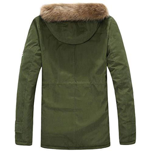 Uomini Zip Cappotto Verde Autunno Cotone Ujunaortop Di Camicetta Lunga Incappucciati Giacca Inverno Esercito Uomini In qgpnSHxwZ