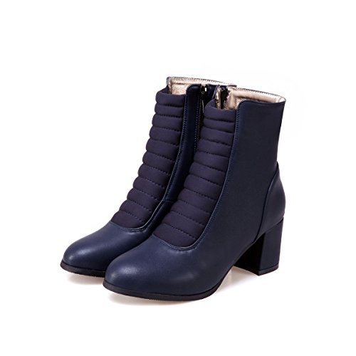 QIN&X La mujer Tacones Talón de bloque corto de cabeza redonda tobillo botas zapatos Blue