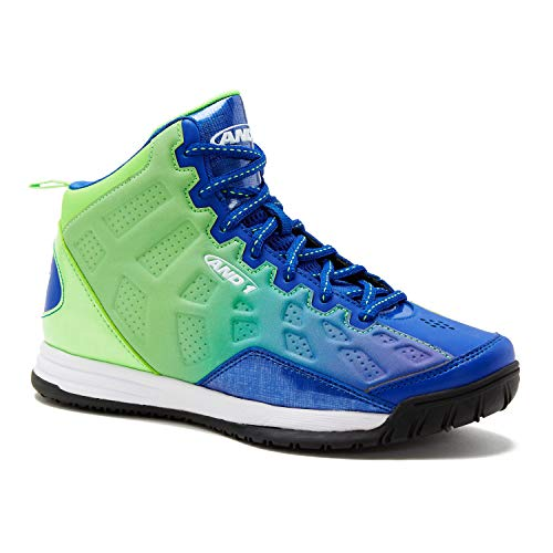 AND1 Kids Show Out Basketball Shoe, 6 M US Big Kid Green/Blue Ombre