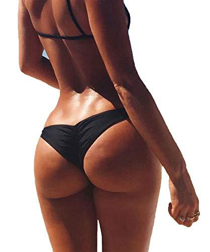 3-5 Days Delivery Sexy Lady Brazilian V-Style Ruched Ruffle Cheeky Bikini Bottom Thong Black ()