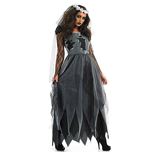 NonEcho Adult Cemetery Ghost Corpse Bride Costume Scary Halloween Costume Outfit (Medium, Black)