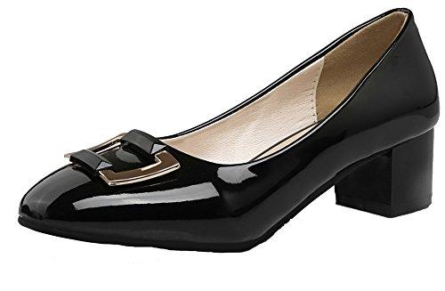 VogueZone009 Damen Blend-Materialien Quadratisch Zehe Mittler Absatz Rein Pumps Schuhe Schwarz
