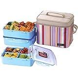 Lock & Lock Brotzeitbox Picnic Lunch Box Bento Set, 1.6 L x 3 Boxen, HPL824RP