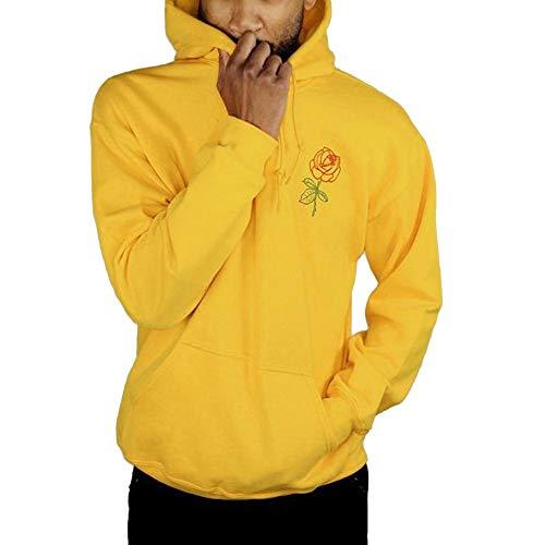 Felpa Manica Con yellow Uomo Hoodie Stampa Camicette Cappuccio Pullover Cotone Zolimx Maglietta Tuta Donna Lunga And Rosa Caldo Giallo pq7UwUdFn