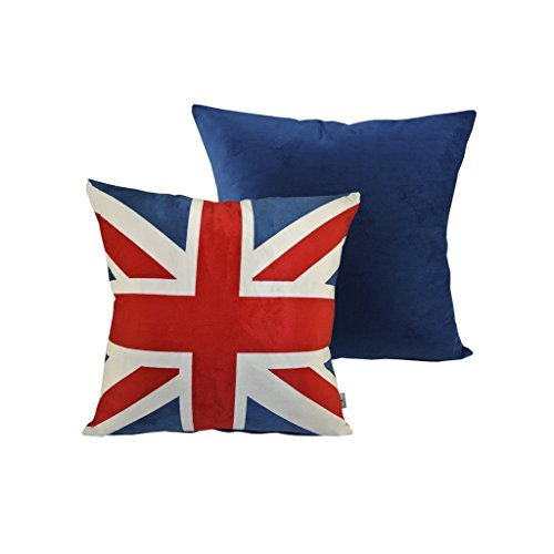 Thanksliving 2Pc British Vintage Style Union Jack Flag Throw Velvet Pillow Case Cushion Cover 21 Inches x 21 Inches /55 x 55 Cm(Set of 2), Union Jack Flag - Jack Decorative Pillow