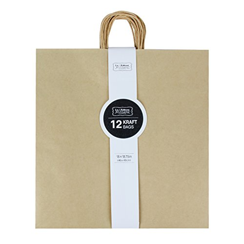 Paper Christmas Wishes 12x12 (LaRibbons Gift Bulk with Handles Kraft Paper Bags, 18