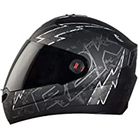 Steelbird SBA-1 R2K LIVE Full Face Helmet in Matt Finish with Smoke Visor (Large 600 MM, Matt Black/Grey)